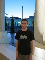 Alex in the colonnaded arcade