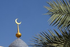 crescent moon on a mosque in Adam