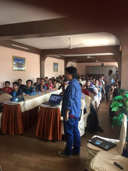 Umesh Gurung during his presentation