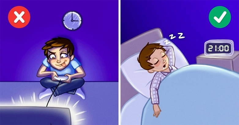 Sleep in time instead of staying awake till midnight
