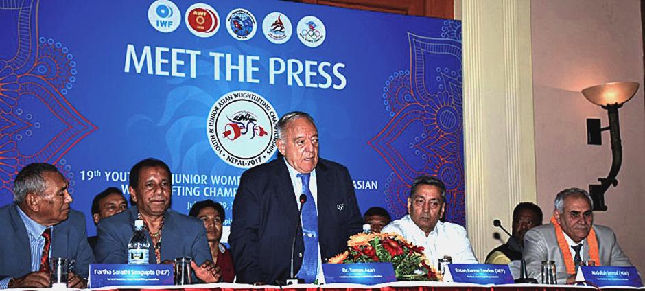 International Weightlifting Federation President Tamas Ajan (center) speaks during a press meet in Kathmandu on Thursday. Image Credit: The Himalayan Times