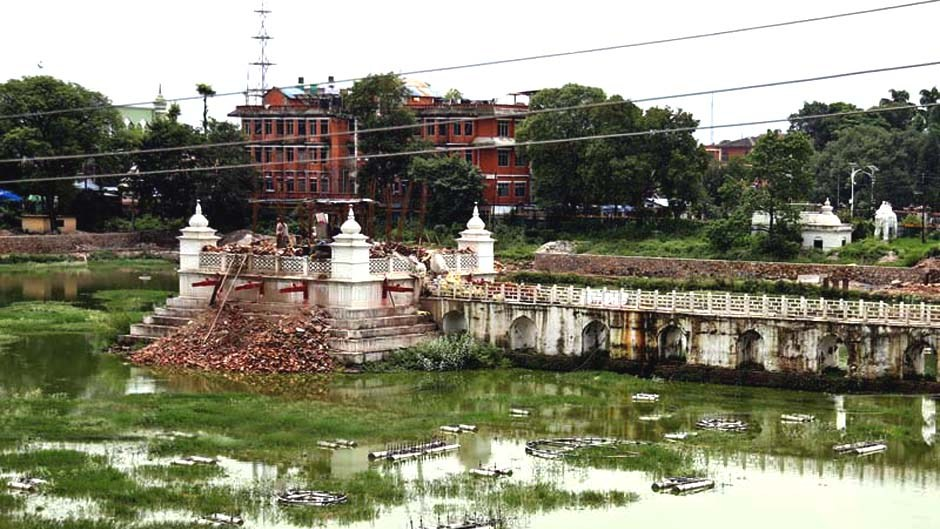 The under-construction Rani Pokhari that was destroyed in the earthquakes of April 2015, on Wednesday, August 10, 2016. Photo: RSS