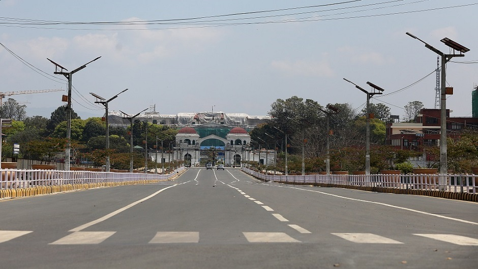 Empty road in front of Singhadurbar main gate taken from Bhadrakali during 1st day of nationwide lockdown due to the precaution measure on Corona Virus outbreak scenario in Kathmandu on Tuesday, March 24, 2020. Photo: Dipesh Shrestha/Nagarik/Republica