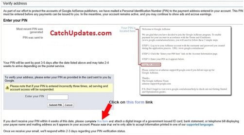 Verify Google AdSense Account Without Pin 1