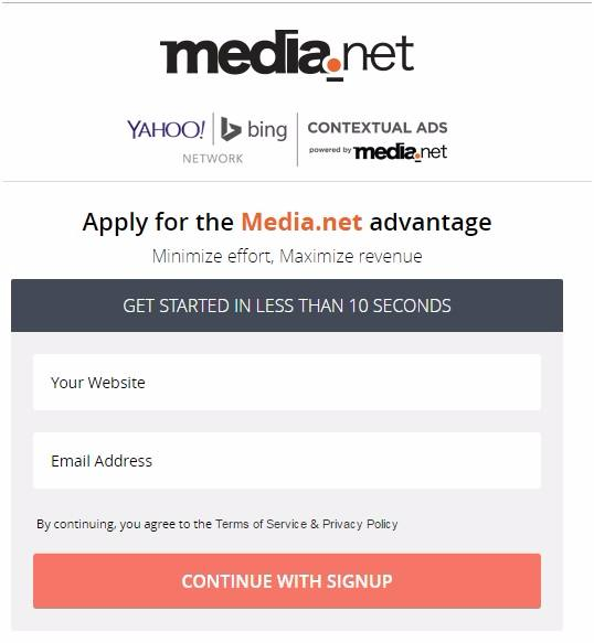 media.net review - sign up