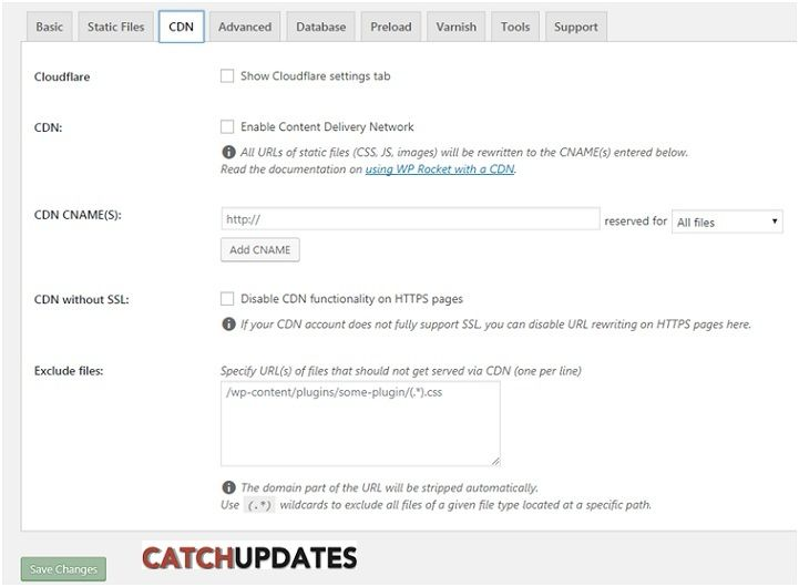 WP-Rocket CDN settings
