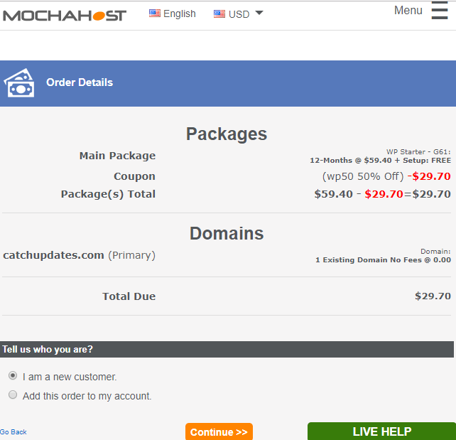 Calculate total and hosting package