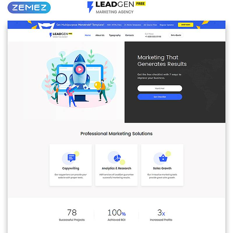 Free HTML5 Theme for Marketing Agency