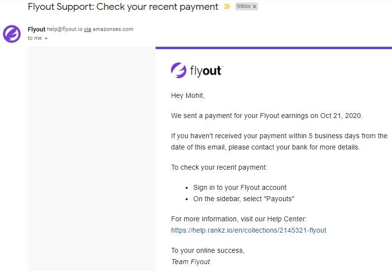 FlyOut Payment Proof