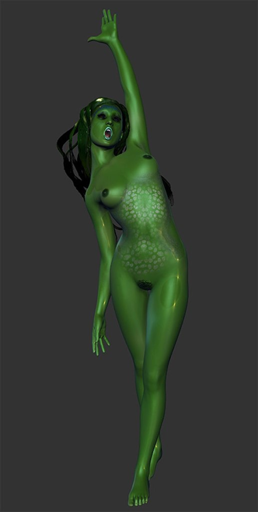 A 3D illustration of a mermaid. Main view.