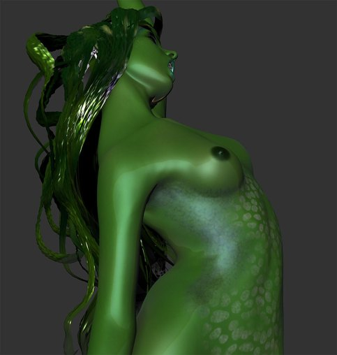 A 3D illustration of a mermaid. Detail.