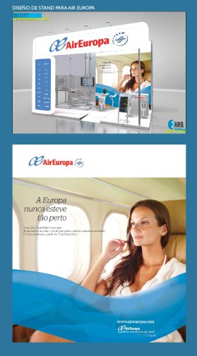 Diseño de stand para Air Europa. Feria de Turismo, Italia. Stand design for Air Europa airlines. Tourism fair, Italy.