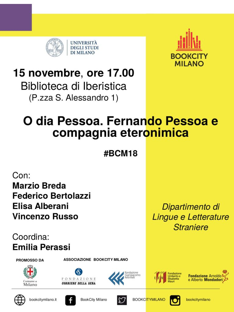 O dia Pessoa. Fernando Pessoa e compagnia eteronimica #BCM18