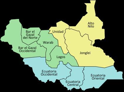 Estados que componen Sudán del Sur