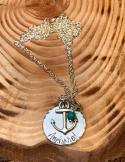 "Anchored hand stamped on silver hammered edge disc includes anchor charm turquoise colored bead 30"" silver chain. $30"