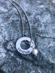 "courage hand stamped on silver washer includes pearl 24"" silver chain. $28"