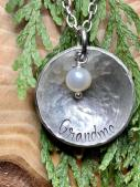 "Grandma hand stamped on 1"" hammered pewter includes pearl and 18"" chain. $30"