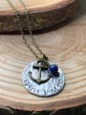 "spirit lead me hand stamped on silver hammered disc includes anchor charm lapis bead 30"" antiqued brass chain. $30"