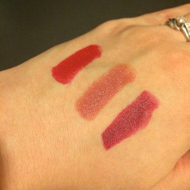 Swatches (L to R: gazpacho, verbena, beetroot)