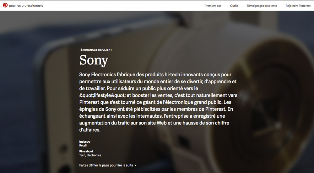 Sony se met à Pinterest