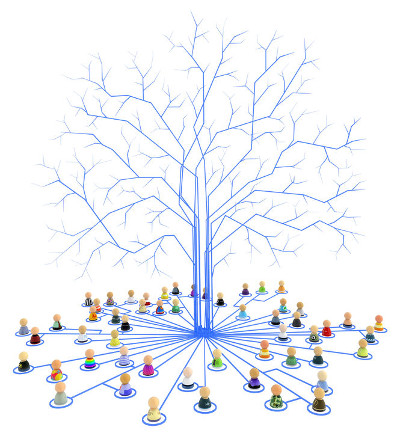 Crowd of small symbolic figures, interconnected as teams into tree roots.