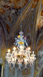 Venetian glass chandelier in the Oratorio di San Guiseppe. Photo Credit: Caterina Novelliere Sept 2016
