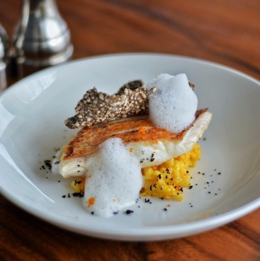 "Red Snapper with ""calabaza"" risotto, black olive and Parmesan Cheese foam"
