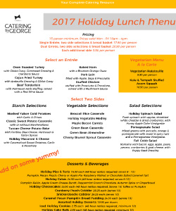 2017 Holiday Menus Are Here Catering By George