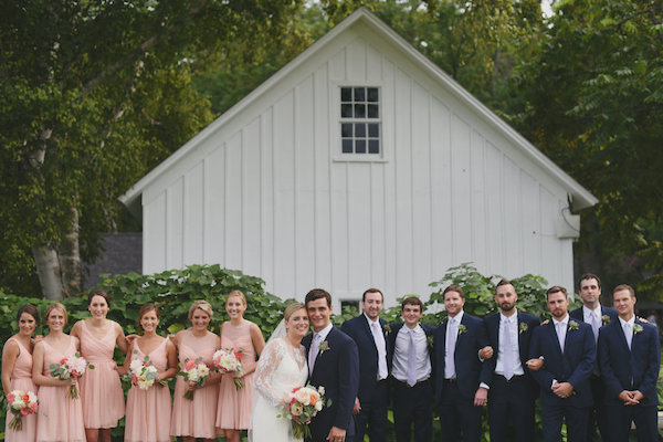 Blush and Navy Bridal Party | Farm to Table Wedding | Epicure Catering and Cherry Basket Farm | Northern Michigan Barn Wedding Venue Omena MI
