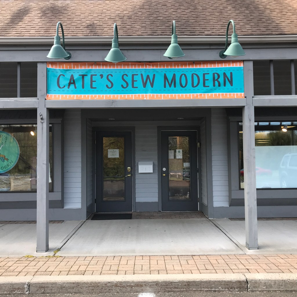 The entrance of Cate's Sew Modern.