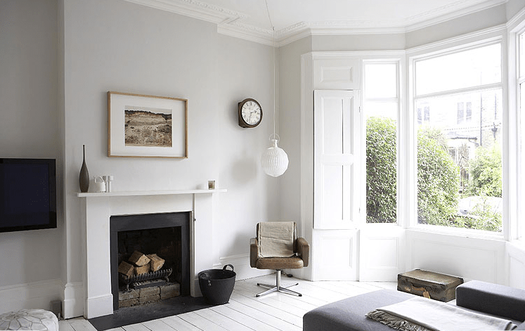 Light, bright period property with painted white floors