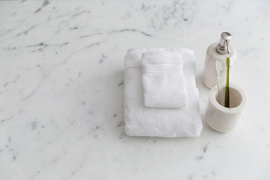 Soak&Sleep - White Marble soap dispenser £12, tumbler £8