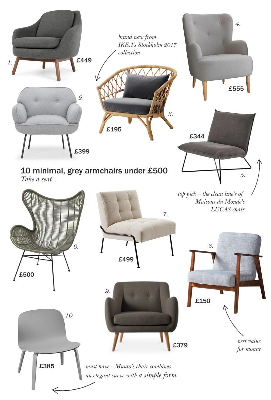 10 minimal, grey armchair under £500