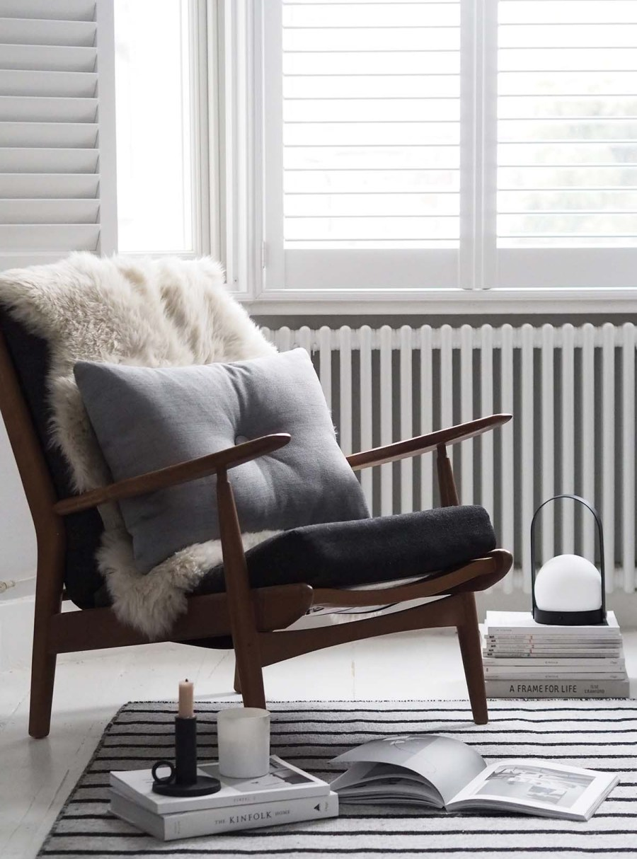My home on Amara's Home Inspiration page - Scandinavian style interiors - grey living room  - mid-century armchair