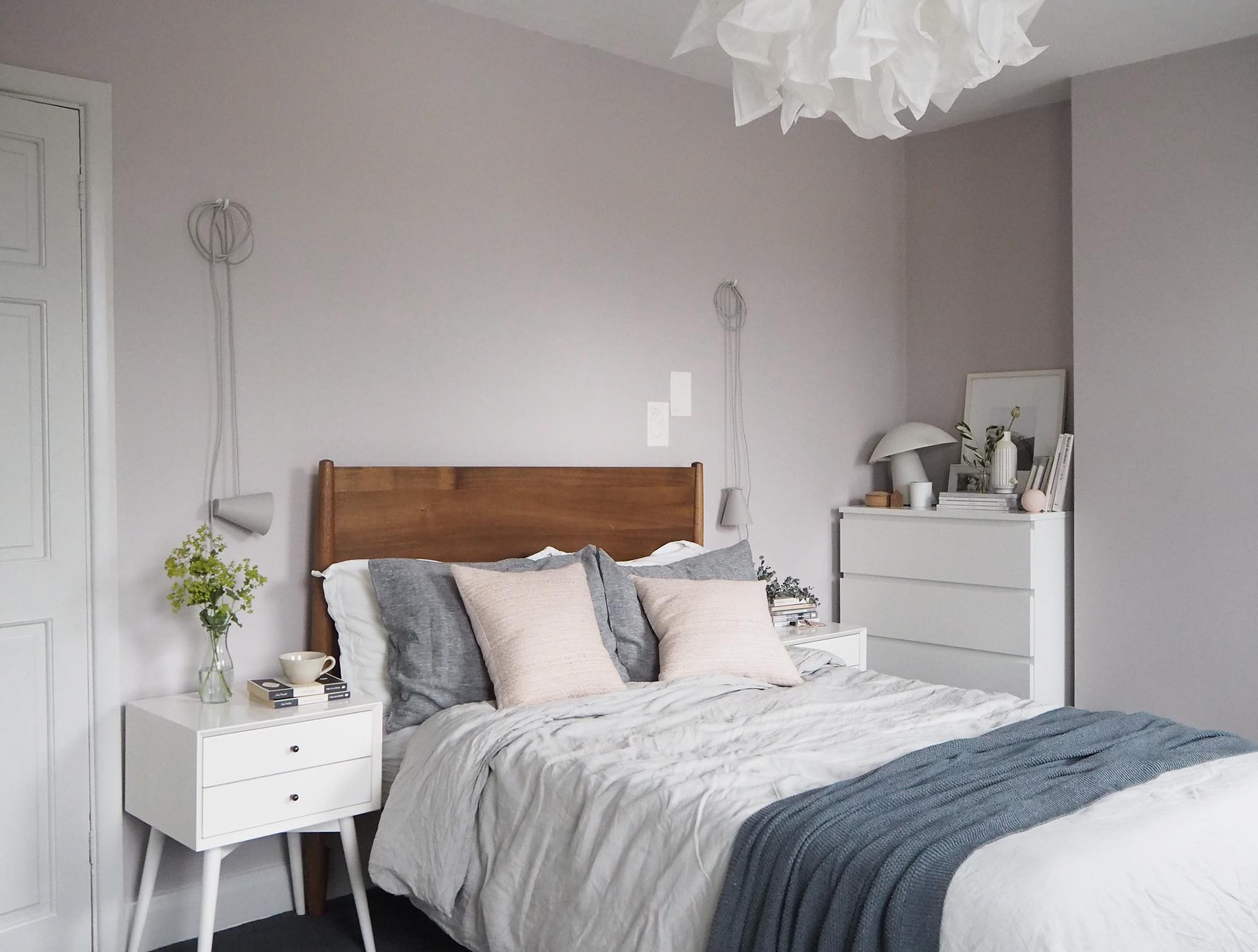 soft blush pink bedroom reveal before + after - farrow & ball peignoir - west elm mid-century