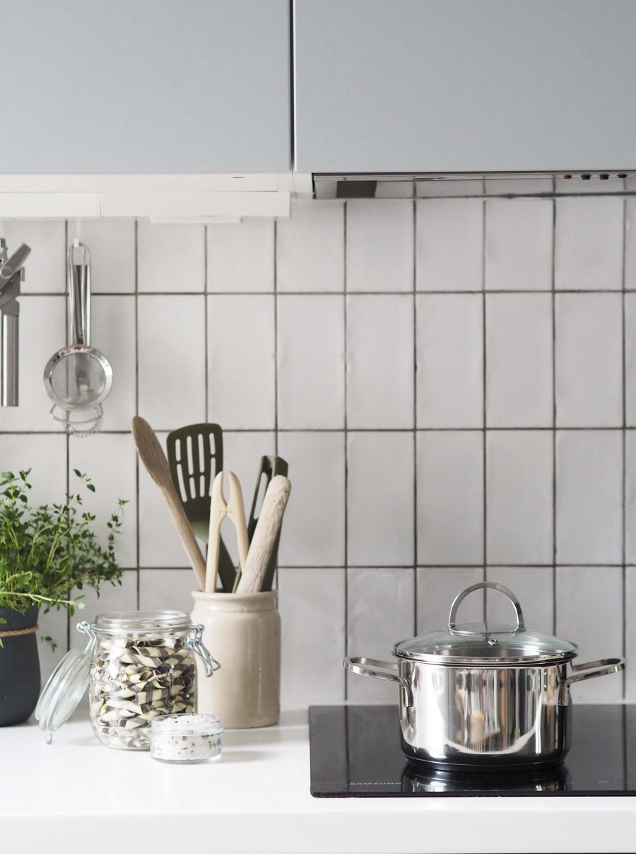 Light grey scandi-style kitchen with white vertical metro tiles - Affordable everyday kitchen essentials from Homesense - kitchen styling