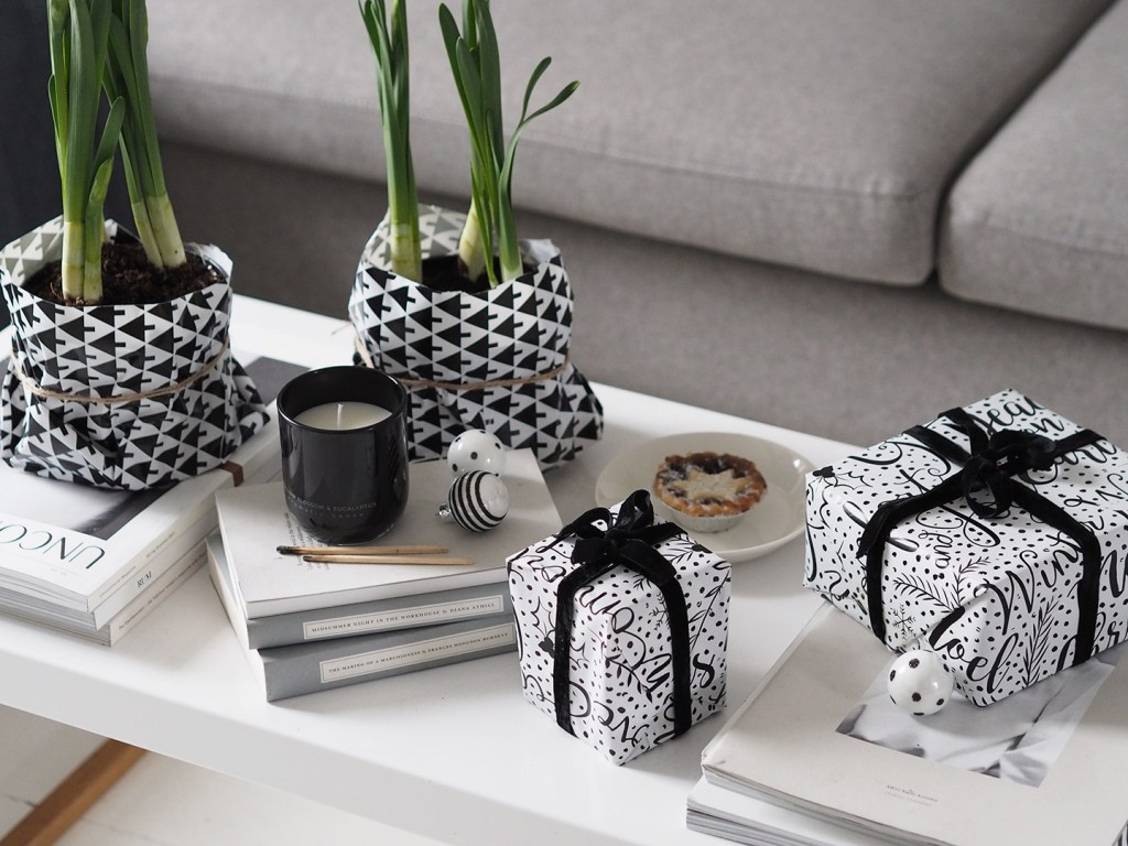 Monochrome Christmas wrapping - coffee table display. A minimal, monochrome Christmas on a budget with Homesense