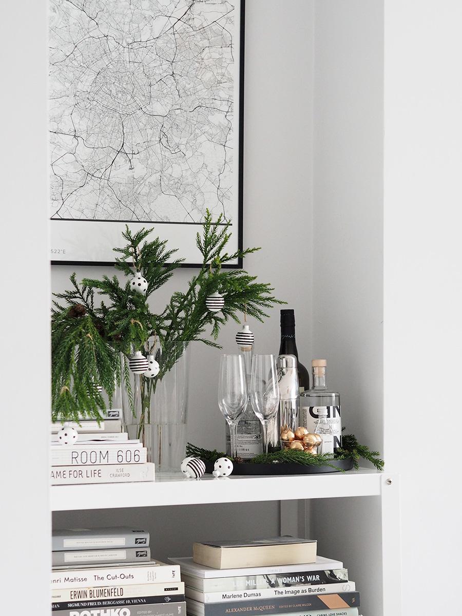Scandi Christmas bar cart. A minimal, monochrome Christmas on a budget with Homesense
