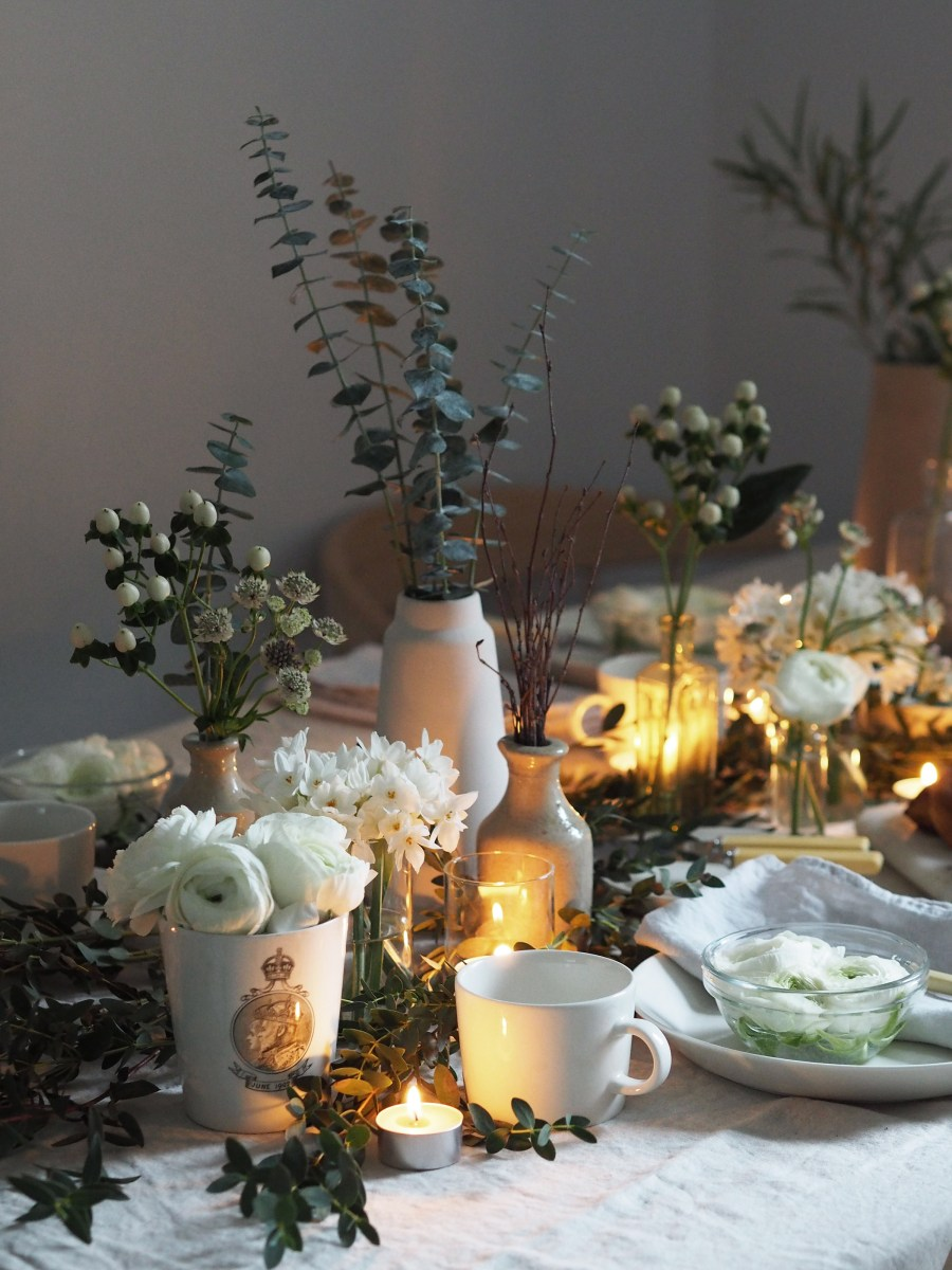 Celebrating the New Year and fresh beginnings with Flowerbe - a woodland inspired table setting for January