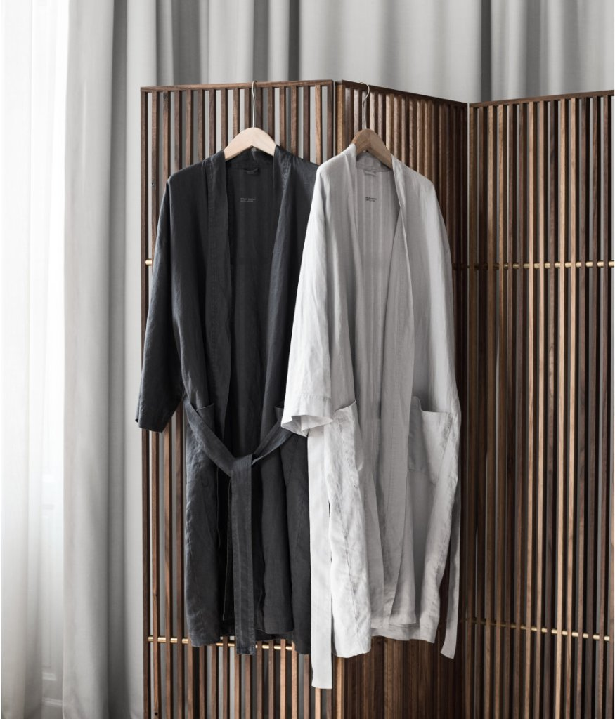7 best places to buy pure linen bedding - Grey washed linen dressing gowns, £34.99, H&M Home