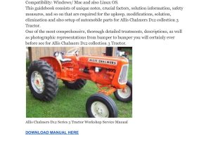 Allis Chalmers D12 Series 3 Tractor Workshop Service Manual