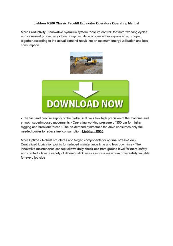 Liebherr R906 Classic Facelift Excavator Operators Operating Manual