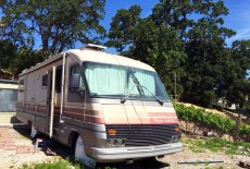 Lucy, the RV -- next to goats and chickens! Atascadero, CA, May 2016