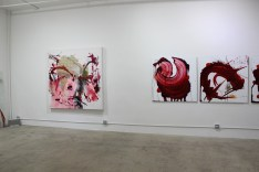 "To the left: YASSINE MEKHNACHE, Untitled, Embroidery and Ink, 72"" x 72"" x 4"""