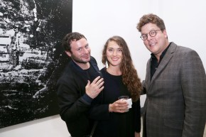 Joseph Mazzarelli, Deborah Ozil, Jackson McCard==PERRIER X L'ATLAS Collaboration Launch==Catherine Ahnell Galleryyy, New York==October 28, 2015==©Patrick McMullan==Photo-Jimi Celeste/PMC====
