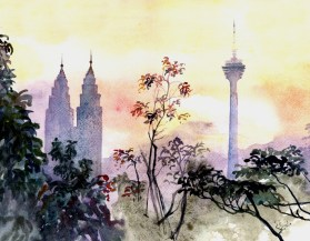 Kuala Lumpur Skyline - sold, available as a digital limited edition print