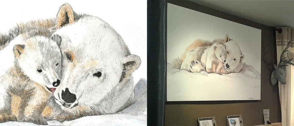 tableau sur mesure Ours câlin peint sur toile