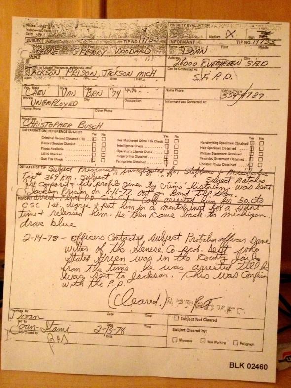 Southfield PD (task force) on Greg Green, 1978