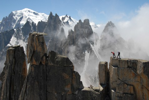 "Destivelle and her sister, Claire, climbing on Grepon pour le film : "" Beyond the summit"""