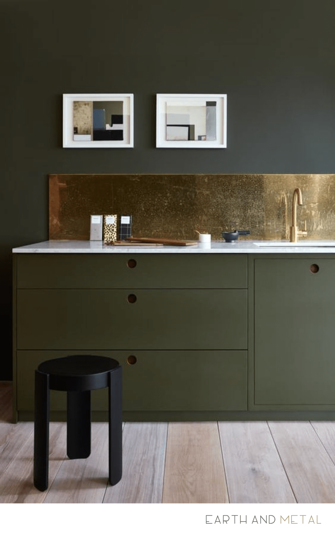 Interior Design Kitchen - Earth Tone and Brass Metal